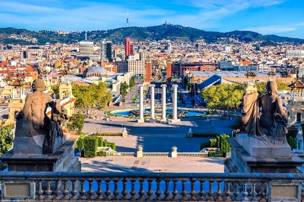 From MNAC: one of the best places in Barcelona to get a nice view.