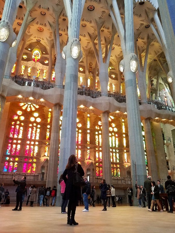Interior of Sagrada Familia church in Spain. It's expected to be completed in 2026.