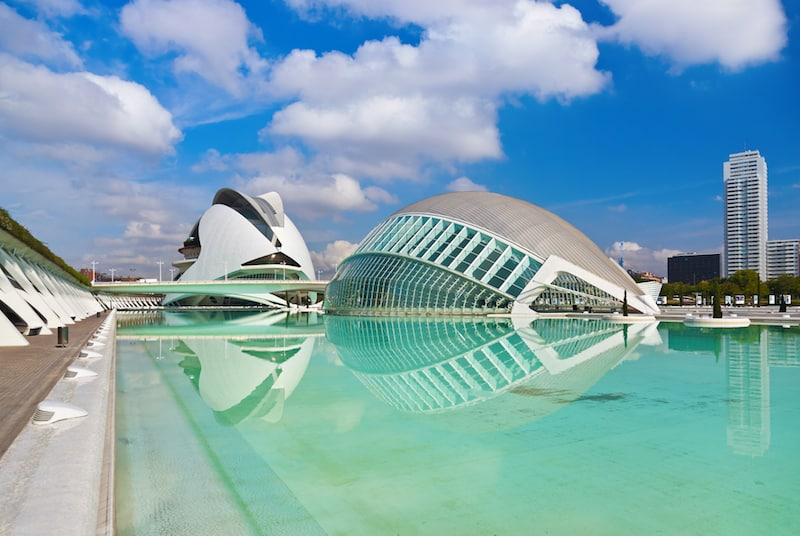 One of the famous buildings in Spain, the city of Arts and Sciences, Valencia