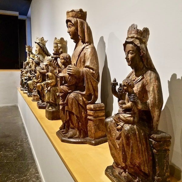Polychrome wood carvings of the Virgin Mary and Baby at the Mares Museum Barcelona